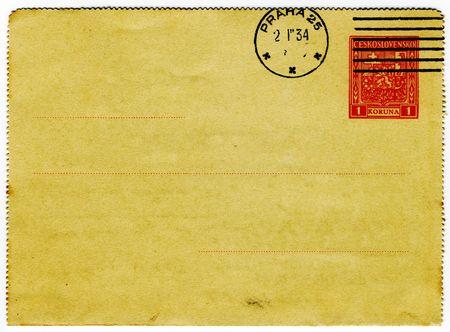 vintage and grungy czechoslovakian postcard Stock Photo - 732873