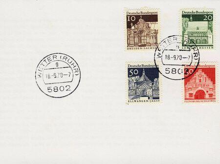 mailroom: Detail of envelope with older german stamp