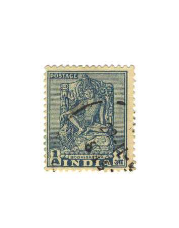 stamp collecting: Old blue stamp from india