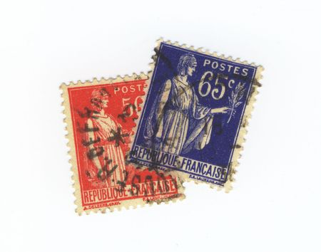 Two old stamps from france Stock Photo