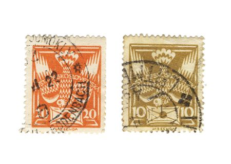 postes: two old stamps from czechoslovakia