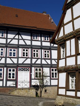 half  timbered: half timbered houses in old city of Marburg, Germany
