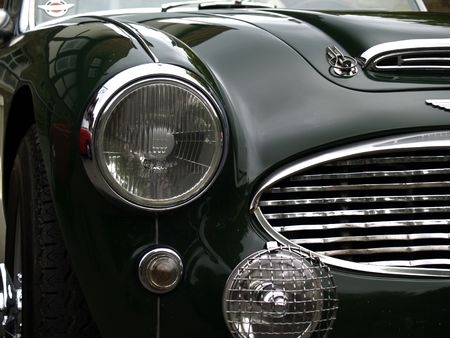 Detail of classic british sportscar photo