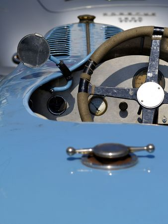 vintage racing car from behind, focus on dashboard  Stock Photo