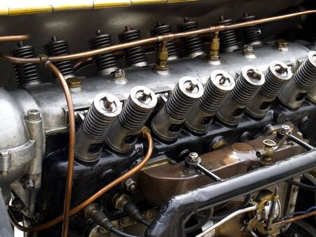 detail of vintage cars engine and valve springs  Stock Photo