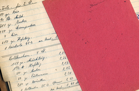 blotter: grungy page of bakerys vintage handwritten cookbook with blotter Stock Photo