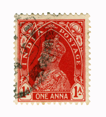 postes: red old stamp from india