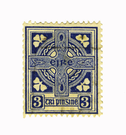 blue old stamp from ireland Stock Photo - 1431789