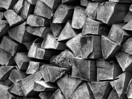 wooden metre: firewood for next winter Stock Photo
