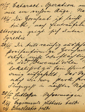 cataract: part of old 19th century medical records, cataract
