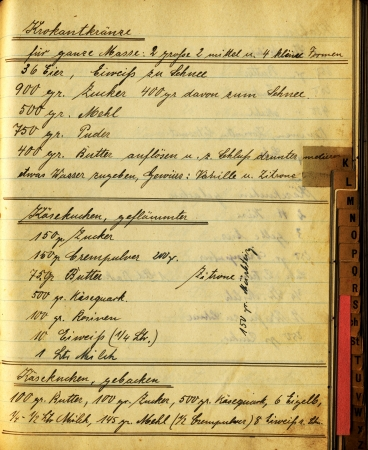 grungy page of bakerys vintage handwritten cookbook  Stock Photo