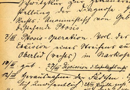 part of old 19th century medical records, eyes hurt