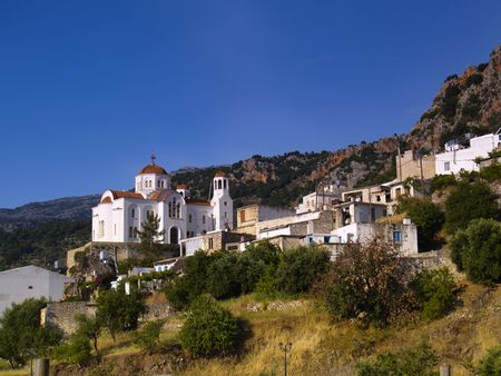 village in the cretan mountains Stock Photo