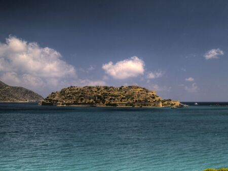hdr style image of spinalonga island, crete, greece
