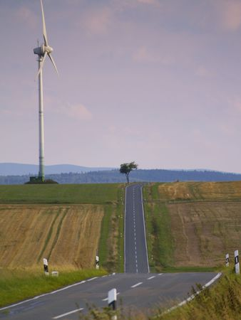 hessen: road through cultivated land in german low mountain range, Upland, Hessen Stock Photo