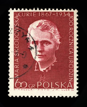old polish postage stamp commemorating marie curie Stock Photo