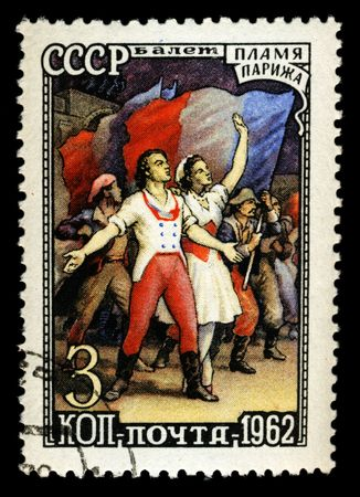 old russian postage stamp commemorating french revolution Stock Photo