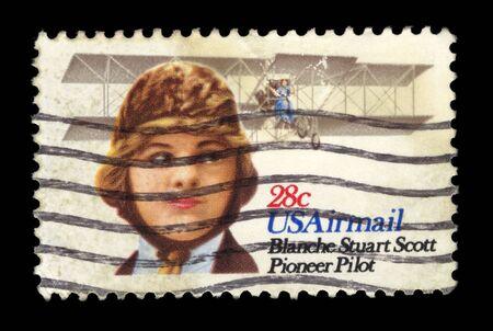 ols USAirmail stamp commemorating female pioneer pilot blanche steward scott photo