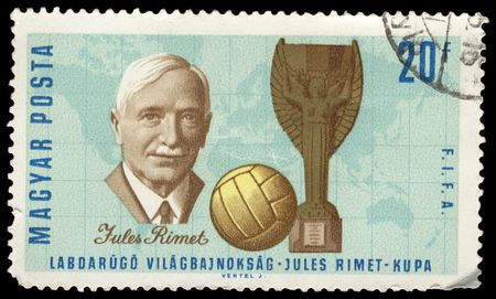 old hungarian postage stamp commemorating jules rimet