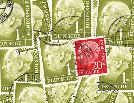 theodor: old german stamps commemorating the first german post war president Theodor Heuss