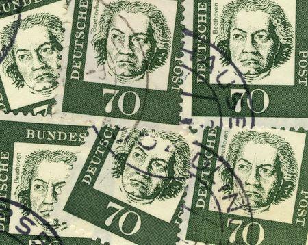 collage di francobolli tedeschi vecchi commemorazione compositore Ludwig van Beethoven Archivio Fotografico - 4163649