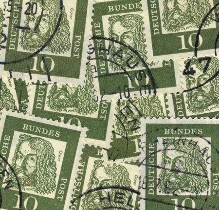 albrecht: collage of old german stamps commemorating painter Albrecht Duerer