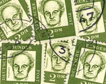 collage of old german stamps commemorating poet Gerhart Hauptmann Stock Photo - 4163655
