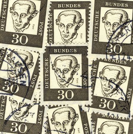 immanuel: collage of old german stamps commemorating philosopher Immanuel Kant