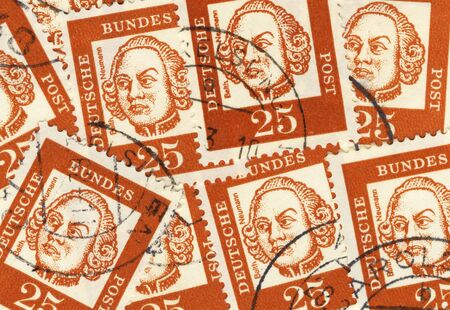 balthasar: collage of old german stamps commemorating architect Balthasar Neumann Stock Photo