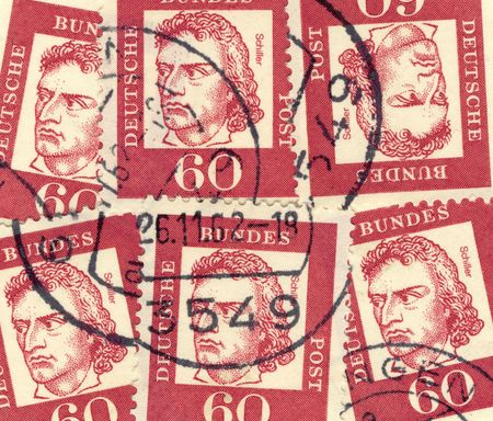 dramatist: collage of old german stamps commemorating poet, dramatist and philosopher Johann Christoph Friedrich von Schiller