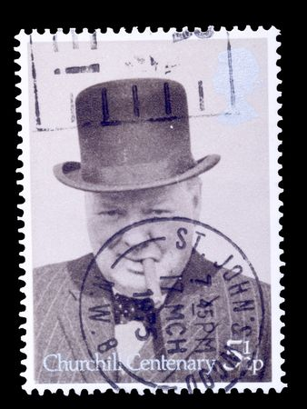 british postage stamp commemorating winston churchill