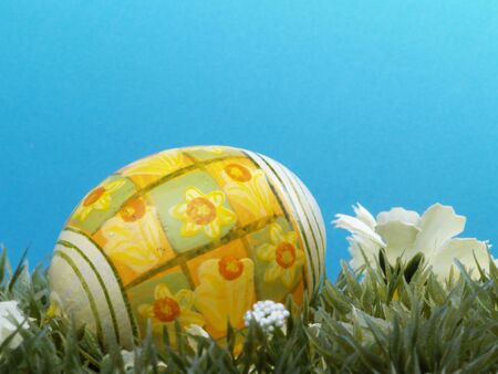 dacorated: handpainted daffodil design on easter egg, artificial grass and blossoms, shades of blue background Stock Photo