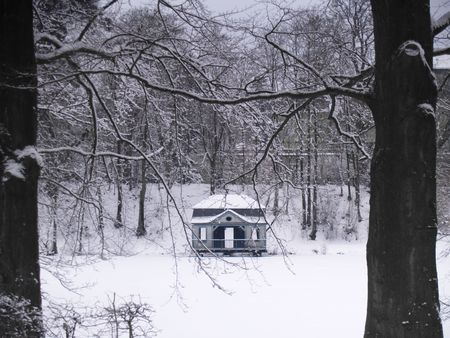 boathouse: small baroque era boathouse at a little lake, germany, winter Stock Photo