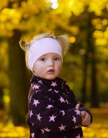 adoreable little girls portrait in autumn photo