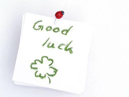 memo over white, good luck