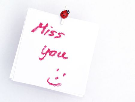 memo over red, miss you Stock Photo - 4453333