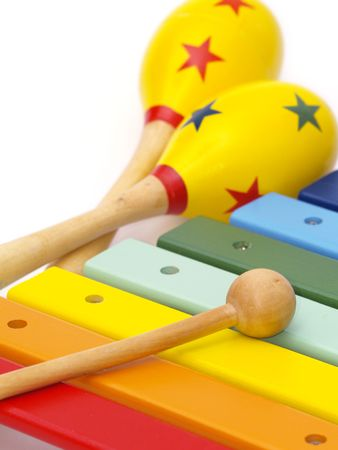detail of xylophone and maracas for children