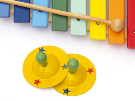 detail of xylophone and cymbal for children