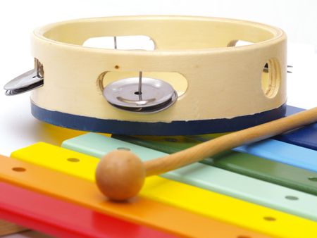detail of xylophone and tambourine for children  Stock Photo
