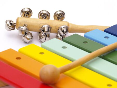 detail of xylophone and cabasa for children  Stock Photo