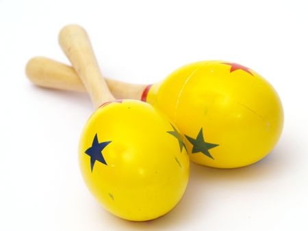 detail of pair of maracas for children