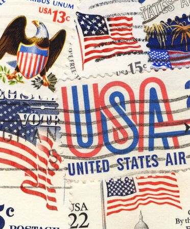 patriotic US postage stamps collage Stock Photo