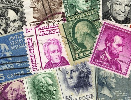 vintage US postage stamps collage Editorial