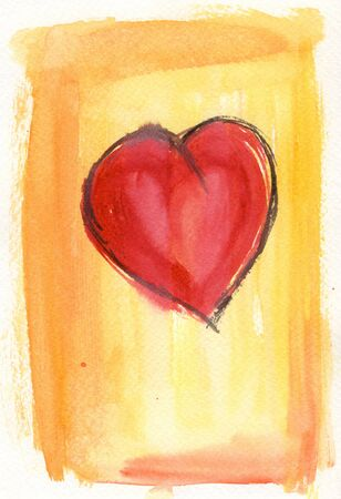 textur: watercolor painting on textured paper showing red heart over yellow to orange background Stock Photo