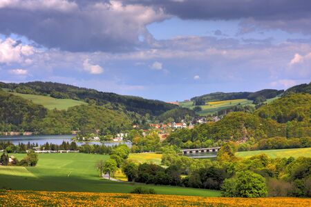 Landscape at the Diemelsee, Germany Stock Photo