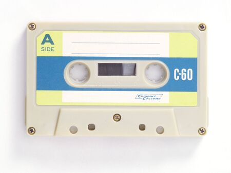 old audio tape on white