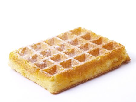 belgian waffle on white background Stock Photo