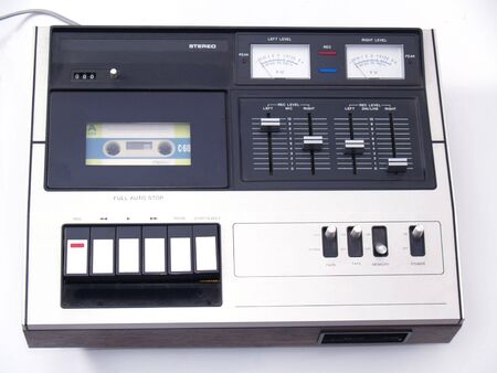 photo of vintage audio cassette deck on white