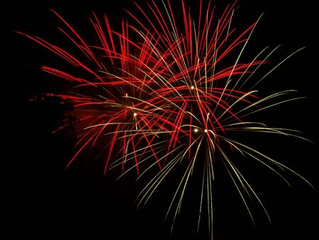 red  and golden fireworks display photo
