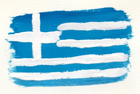 greek flag: abstract watercolor greek flag on textured paper